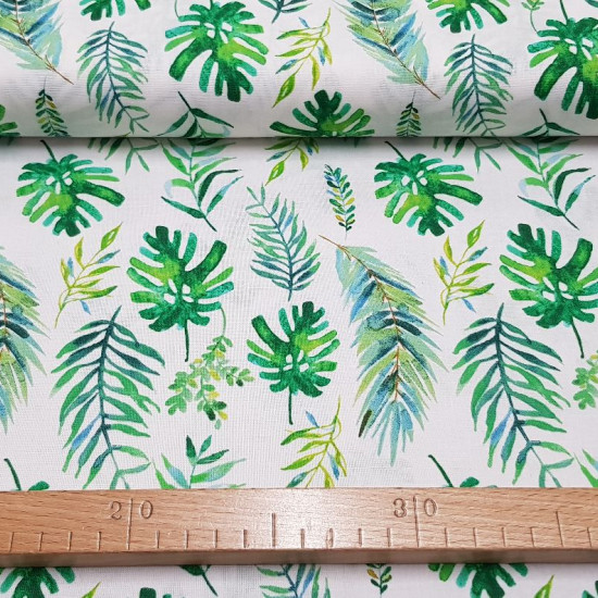Cotton Tropical Plants fabric - American width cotton fabric with drawings of tropical plants on a white background. This fabric is part of the Tropicale collection by Fabric Palette. The fabric is 110cm wide and its composition is 100% cotton.