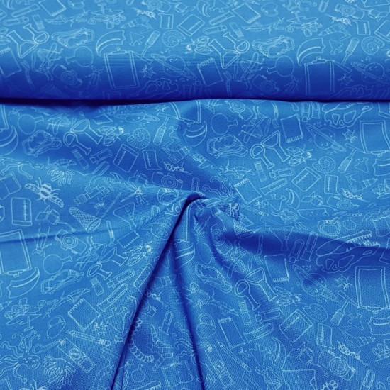 Tela Algodón Ciencia Objetos - Tela de algodón ancho americano licencia del Natural History Museum de Londres con dibujos de objetos relacionados con la ciencia, la investigación y el universo. Esta tela forma parte de la colección Future Scientis