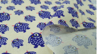 Cotton Monster Purple fabric - Cotton fabric with drawings of purple monsters with one eye on a light background. This fabric is part of the Cutest Little Monster collection from The Craft Cotton Company. The fabric is 110cm wide and its compo