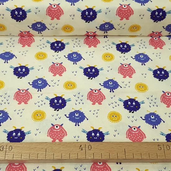 Tela Algodón Monstruos Amigos - Tela de algodón ancho americano con dibujos de monstruos de varias formas y coloressobre un fondo claro. Esta tela forma parte de la colección Cutest Little Monster de The Craft Cotton Company.