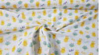 Cotton Monsters Hello fabric - Cotton fabric with drawings of yellow and green monsters waving and Hello phrases on a light background. This fabric is part of the Cutest Little Monster collection from The Craft Cotton Company. The fabric is 11