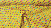 Cotton Butterflies Mustard Colors fabric - Cotton fabric with drawings of colored butterflies on a mustard yellow background. This fabric is part of The Craft Cotton Company's Happy Owls collection. The fabric is 110cm wide and its composition is 100%