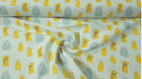 Monster Cotton Mint Yellow fabric - Cotton fabric with drawings of yellow and green monsters on a light mint background. This fabric is part of the Cutest Little Monster collection from The Craft Cotton Company. The fabric is 110cm wide and its com