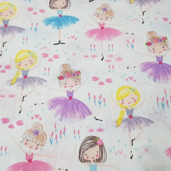 Cotton Ballerinas Flowers fabric - Cotton fabric with drawings of ballerinas on a white background with flowers and plants. The fabric is 110cm wide and its composition is 100% cotton.