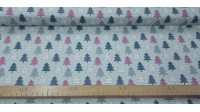 Cotton Christmas Forest Fir Trees fabric - Christmas cotton fabric with drawings of fir trees in straight shapes of various colors on a light background with white dots simulating snow. The fabric is 110cm wide and its composition is 100% cotton.