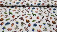 Tela Algodón Disney Toy Story - Tela de algodón Disney con los personajes de Toy Story sobre fondo blanco. Tenemos a Buzz, Woody, el señor Potato y muchos más…