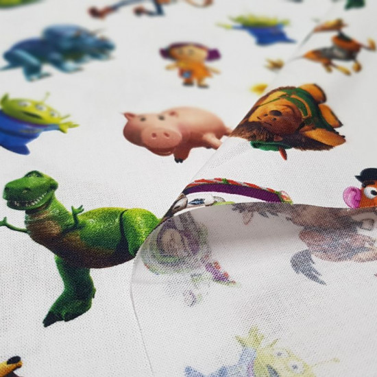 Cotton Disney Toy Story White fabric - Disney cotton fabric with Toy Story characters on white background. We have Buzz, Woody, Mr. Potato and many more …