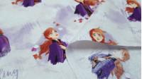Tela Algodón Disney Frozen 2 - Tela de algodón digital Disney con el personaje Anna de la película Frozen 2 sobre un fondo lila con nubes y árboles blancos. La tela mide 110cm de ancho y su composición 100% algodón.