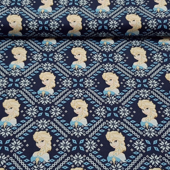 Cotton Disney Frozen 2 Elsa Mosaic fabric - Disney cotton fabric featuring Elsa from the Frozen 2 animated film in a mosaic composition. The fabric is 110cm wide and its composition 100% cotton.