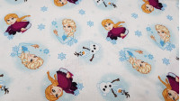 Cotton Disney Frozen 2 Anna Elsa Olaf White fabric - Disney cotton fabric with the characters from the Frozen 2 animated film on a white background with snowflakes. The characters Anna, Elsa and Olaf appear. The fabric is 110cm wide and its composition 10
