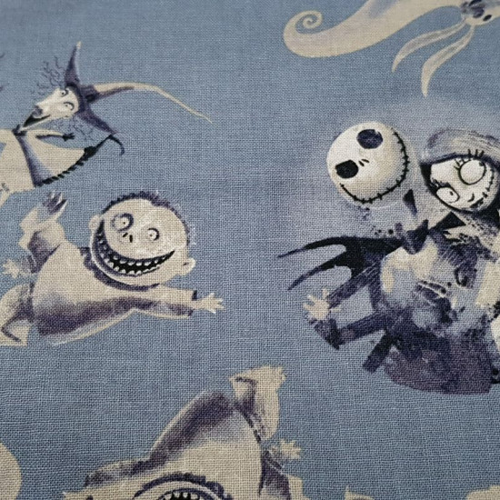Cotton Disney Nightmare Before Christmas fabric - Disney cotton fabric with drawings of the characters from Nightmare before Christmas, by Tim Burton. The characters Jack Skellington, Sally, Zero and the monster children appear on a gray background. The f