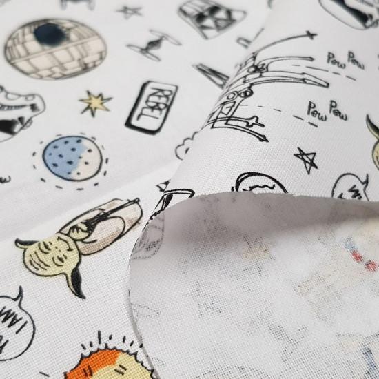 Tela Algodón Star Wars Caricatura Cómic - Tela de algodón con dibujos de caricatura tipo cómic de la saga Star Wars. Una tela muy divertida donde aparecen personajes caricaturizados como R2-D2, Yoda, C-3PO...y elementos tan significativos como las espada