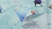 Cotton Disney Frozen 2 Nature is Magical fabric - Disney cotton fabric where the main characters of the movie Frozen 2 (Anna, Elsa, Olaf, Kristoff and Sven) appear on a background of snowy forest with leaves in the wind and alternating phrases