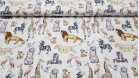 Cotton Disney Lion King fabric - Disney cotton fabric with the characters from the movie The Lion King. Several characters appear as Simba, Zazu, Nala, Rafiki... on a white background. The fabric is 150cm wide and its composition 100% cotton.