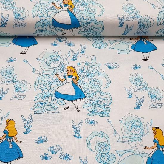 Tela Algodón Disney Alicia Jardín Flores - Tela de popelín algodón Disney con dibujos de Alicia, de la película Alicia en el país de las maravillas y un fondo del jardín de flores de color azul sobre un fondo blanco. La tela mide 110cm de ancho y su compo