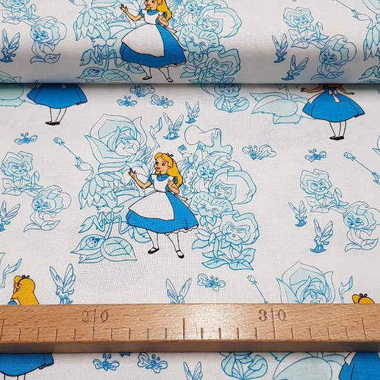 Cotton Disney Alice Garden Flowers fabric - Disney cotton poplin fabric with drawings of Alice, from the movie Alice in Wonderland and a blue flower garden background on a white background. The fabric is 110cm wide and its composition 100% cotton.