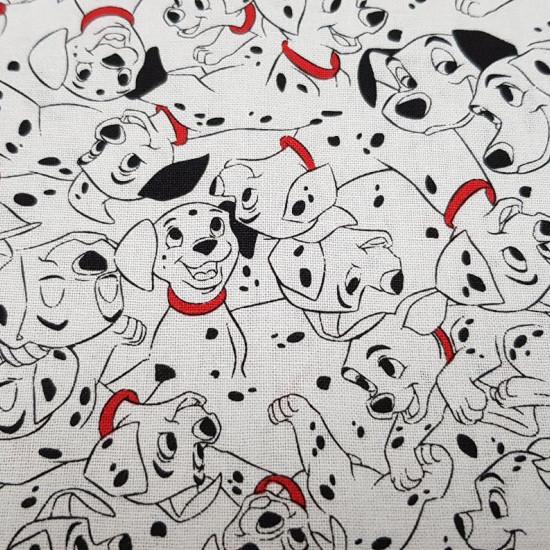 Tela Algodón Disney 101 Dálmatas - Tela de algodón infantil Disney en ancho americano,con los dibujos de 101 Dálmatas en la que aparecen el perro Pongo, Perdita y sus cachorritos sobre un fondo blanco. La tela mide 110cm de ancho y su composición 100