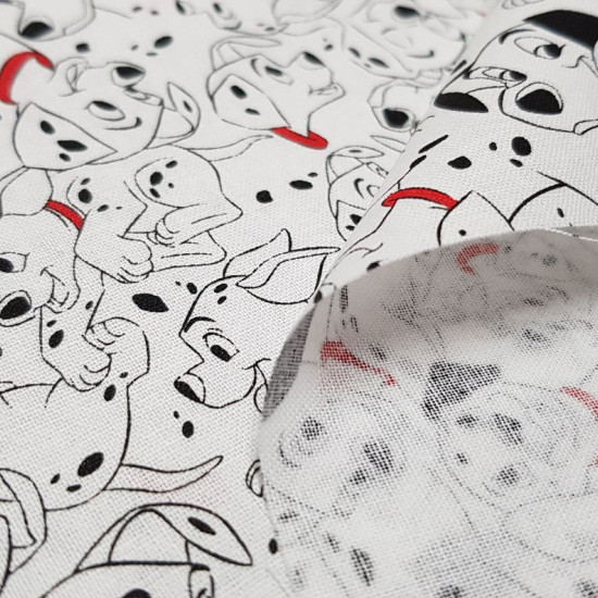 Cotton Disney 101 Dalmatians fabric - Disney children's cotton fabricwith the drawings of 101 Dalmatians in which the dog Pongo, Perdita and their puppies appear on a white background. The fabric is 110cm wide and its composition 100% cotton.