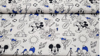 Cotton Disney Mickey Donald Summer Blue fabric - Disney cotton licensed fabric featuring the characters Mickey and Donald in a summer seafaring theme in black lines and blue colored parts. All this on a white background. The fabric measures 150cm and its