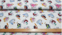 Cotton Disney Princesses Phrases fabric - Disney licensed cotton fabric with drawings of princesses Aurora, Ariel, Cinderella, Mulan, Vaiana and Rapuntzel in which phrases and symbols of each film appear in each one on a white background. The fabric is 15