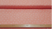 Cotton Miffy Silhouettes Stars fabric - Licensed cotton fabric with drawings of silhouettes of the Miffy bunny on a pale coral background with drawings of white stars. The fabric is 110cm wide and its composition is 100% cotton.