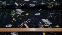 Cotton Star Wars Death Star fabric - Disney licensed cotton fabric with drawings of the Star Wars death star and other ships on a black space background with Star Wars logos. The fabric is 110cm wide and its composition is 100% cotton.