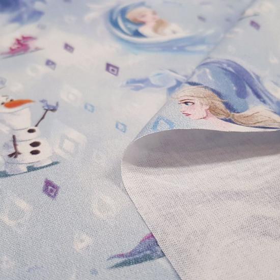 Tela Algodón Disney Frozen 2 Espiritus Elementos - Tela de algodón licencia Disney con los dibujos de los personajes de la película Frozen 2, donde aparece Elsa y Olaff con los espiritus de los elementos como son elcaballo de agua (El Nokk) y la salamand