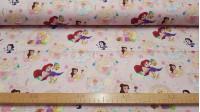 Tela Algodón Disney Princesas Love Rosa - Tela de algodón licencia Disney con los personajes de princesas DisneyBlancanieves, Cenicienta, Rapuntzel, Aurora, Bella y Ariel sobre un fondo rosa. La tela mide 150cm de ancho y su composición 100% algodón.