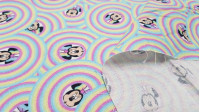 Cotton Disney Minnie Rainbow Bubbles fabric - Disney licensed cotton fabric with drawings of the Minnie character on rainbows forming bubbles. The fabric is 150cm wide and its composition is 100% cotton.