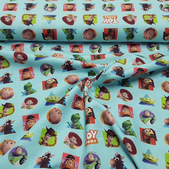 Cotton Disney Toy Story Patches fabric - Disney licensed cotton fabric featuring the characters from the animated film Pixar Toy Story on a lightbackground. The fabric is 150cm wide and its composition is 100% cotton.