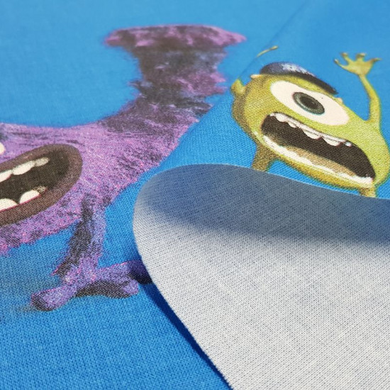 Cotton Disney Monsters University fabric - Decorative Disney licensed cotton fabric with large drawings of the characters from the movie Monsters University, on a blue background. The characters Sulley, Mike, appear among other monsters. The fabric is 140