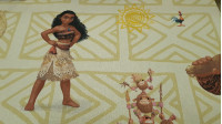 Cotton Disney Decorative Moana fabric - Decorative Disney licensed cotton fabric with the characters from the movie Moana on a light background with different geometric patterns. Moana, Maui, Hei hei, Pua and the Kakamora pirates appear. The fabric is 140