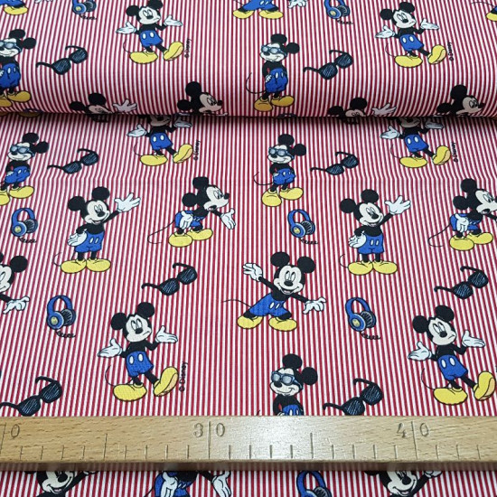 Cotton Disney Mickey Red Striped Glasses fabric - Disney licensed cotton fabric with drawings of the character Mickey wearing sunglasses on a red and white striped background. The fabric is 140cm wide and its composition is 100% cotton.