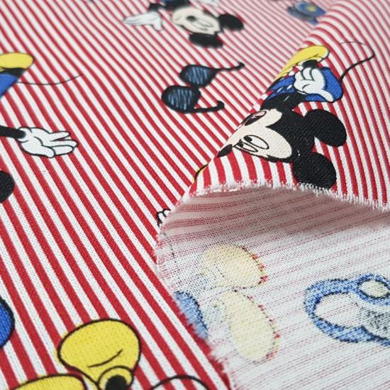 Tela Algodón Disney Mickey Gafas Rayas Rojas - Tela de algodón licencia Disney con dibujos del personaje Mickey con gafas de sol sobre un fondo de rayas rojas y blancas. La tela mide 140cm de ancho y su composición 100% algodón.
