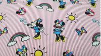 Tela Algodón Disney Minnie Gafas Rayas Rosas - Tela de algodón licencia Disney con dibujos del personaje Minnie sobre un fondo de rayas rosas y blancas con arcoiris, soles, lacitos de colores… La tela mide 140cm de ancho y su composición 100% algodón.