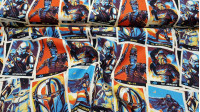 Cotton Star Wars The Mandalorian Trading Cards fabric - Cotton fabric licensed Disney from the Star Wars The Mandalorian series from the Disney+ channel, where trading cards of various characters from the series appear, such as the Mandalorian, Baby Yoda,
