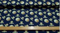 Tela Algodón Disney Star Wars The Mandalorian Baby Yoda Azul Marino - Tela de algodónlicencia Disney de la serie Star Wars The Mandalorian del canal Disney+, donde aparece el personaje The Child (Baby Yoda)en naves pequeñassobre un fondo azul marino. L