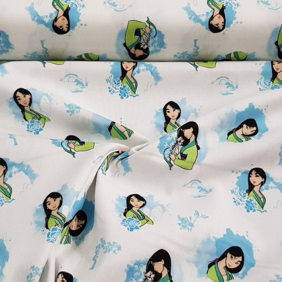 Cotton Disney Mulan Blue fabric - Disney licensed cotton fabric with drawings of the character Mulan with ornaments in blue tones on a white background. The fabric is 110cm wide and its composition is 100% cotton.
