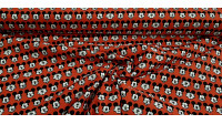 Cotton Disney Mickey Faces Red fabric - Disney licensed cotton fabric with drawings of Mickey faces making faces on a red background. The fabric is 110cm wide and its composition is 100% cotton.