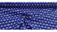 Cotton Disney Mickey Faces Blue fabric - Disney licensed cotton fabric with drawings of Mickey faces making faces on a blue background. The fabric is 110cm wide and its composition is 100% cotton.