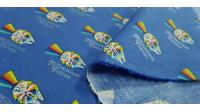 """Tela Algodón Star Wars Rainbow Halcón Milenario - Tela de algodón ancho americano licencia con dibujos del Halcón Milenario de Star Warsen estilo """"rainbow"""" dejando una estela multicolor sobre un fondo de color azul donde también aparecen textos: """"Millenn"""
