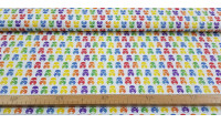 """Cotton Star Wars Rainbow Imperial Helmets fabric - Cotton fabric with drawings of helmets of the imperial soldiers from the famous Star Wars saga in a multicolored """"rainbow"""" style on a white background. The fabric is 150cm wide and its composition 100% co"""