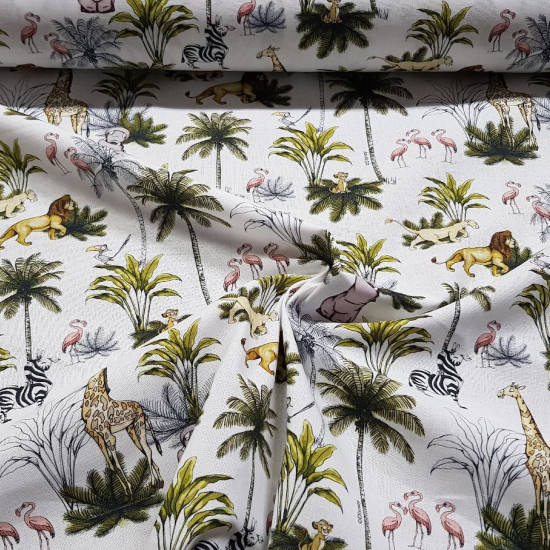 Cotton Disney The Lion King Jungle C fabric - Disney licensed cotton fabric with drawings of the characters from the movie the Lion King in the jungle. The fabric measures between 140-150cm wide and its composition is 100% cotton.
