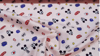 Cotton Disney Mickey Hey Pink fabric - Disney licensed cotton fabric with drawings of Mickey faces winking on a light pink background with stars and other symbols. The fabric is 110cm wide and its composition is 100% cotton.