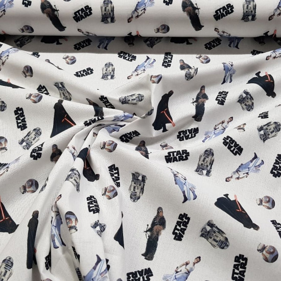 Cotton Star Wars Characters fabric - Licensed cotton fabric with drawings of the characters from the Star Wars saga. R2-D2, BB-8, Chewbacca, Rey appear… The fabric measures between 140-150cm wide and its composition is 100% cotton.