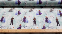 """Cotton Disney Frozen 2 Change fabric - Disney licensed cotton fabric with drawings of the characters Anna, Elsa, Kristoff, Sven and Olaf on a background of snowy trees and phrases """"Change is in the air"""" The fabric measures between 140-150cm wide and its c"""