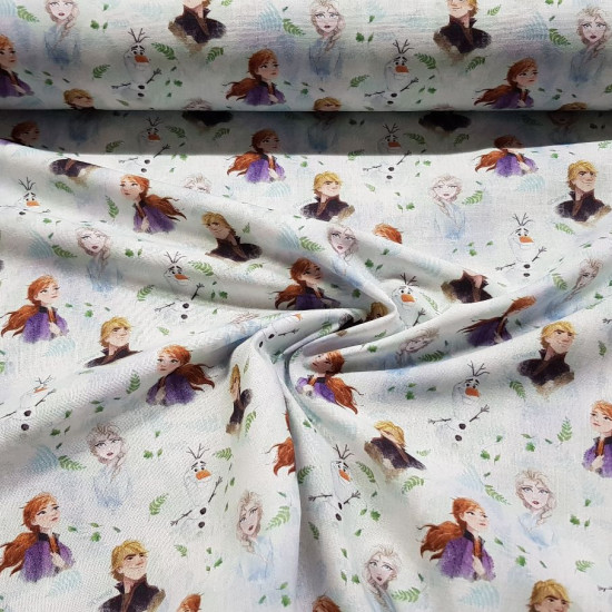 Cotton Disney Frozen 2 Characters C fabric - Disney licensed cotton fabric with drawings of the characters Anna, Elsa, Kristoff and Olaf from the movie Frozen 2 on a background with tree branches. The fabric measures between 140-150cm wide and its composi