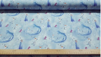 Cotton Disney Frozen 2 Elements C fabric - Disney licensed cotton fabric with drawings of the characters Elsa and Olaff and also the ice horse Nokk and the Bruni salamander. The fabric measures between 140-150cm wide and its composition is 100% cotton.