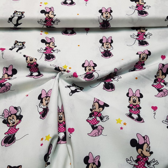 Cotton Disney Minnie Snooty Pink Bows fabric - Disney licensed cotton fabric with drawings of Minnie with bows and kittens on a white background. The fabric is 140cm wide and its composition is 100% cotton.