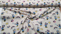 Cotton Disney Minnie Rainbow fabric - Disney children's cotton fabric with drawings of the character Minnie, rainbows, suns and bows, on a background of beige stripes. The fabric is 140cm wide and its composition 100% cotton.